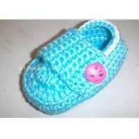 China Cyan Crochet Baby Shoes Flat Heel / Apple Button Crochet Shoes For Toddlers on sale