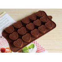 China Heart Shaped Silicone Molds For Chocolate Cake 15 Cavities 21.3*10.5cm on sale