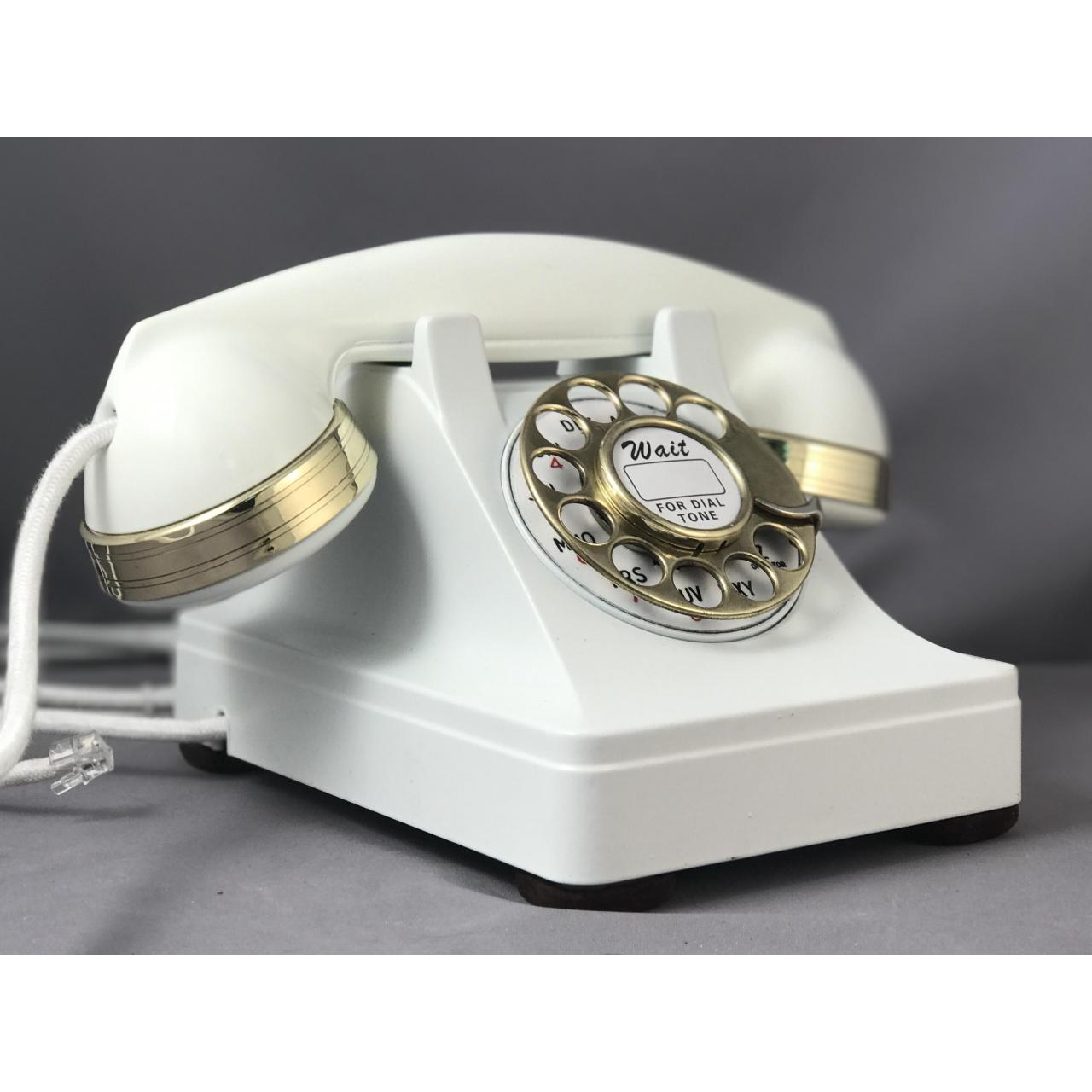 302 - White - Brass Trim Antique Phones
