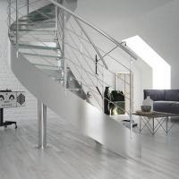 Quality Apartment Stainless Steel Balustrade Laminated Glass Steps Curved Staircase PR-C26 for sale
