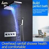 Quality Top led shower set with 22 inch waterfall shower head wall thermostatic valve for sale