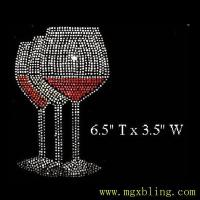 China Hot fix rhinestone crystal Motif iron on transfer Three Wine Glasses on sale