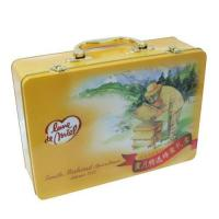 Rectangular Tin Lunch Box with Handle for Student or Children