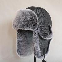 China HT-0014 Grey Denim Fabric Trapper Hat with Faux Fur on sale