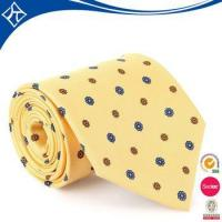 high quality cheap price yellow with black dots woven necktie