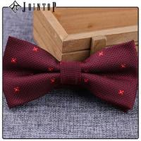 Quality stock low moq 10 extra long burgundy bow tie for sale