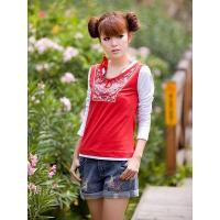 China Unique T-shirt with embroidery and patchwork design on sale