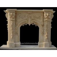 Classic Yellow Marble Outdoor Stone Fireplace Surrounds Designs Ideas