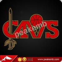 China CAVS basketball Glitter iron on hot fix rhinestone transfers on sale