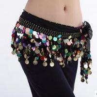 Quality Hot Sale Black Performance Belly Dance Hip Scarf,Belly Dance Practice Belt for sale