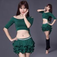 Quality Sexy Gril Belly Dance Practice Set Wtih Short Layers Skirt,Belly Dance Costume for sale