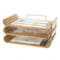 Quality Natural Bamboo Desktop Organizer With Triple Tray for sale