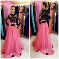 China Long tulle Prom Dresses Long Sleeves Lace Appliques Party Dresses Floor Length Dresses on sale