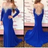China Mermaid Chiffon Prom Dresses Long Sleeves Crystals Floor Length Scoop neck party Dresses on sale