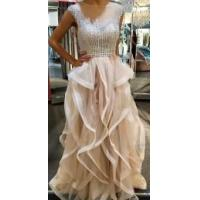 China Scoop Neck Long Tulle Prom Dresses Crystals Floor Length Party Dresses Custom Made 2016 on sale