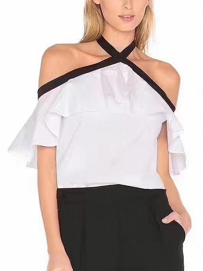 Buy White Halter Off Shoulder Ruffle Trim Blouse at wholesale prices