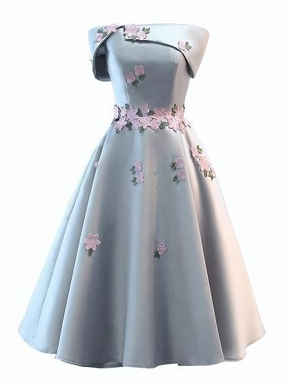 Buy Gray Satin Folded Bandeau Embroidery Floral Skater Prom Dress at wholesale prices