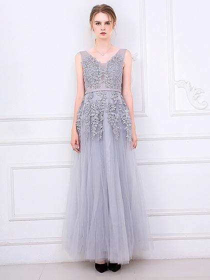 Buy Gray V-neck Embroidery Backless Tulle Maxi Prom Dress at wholesale prices