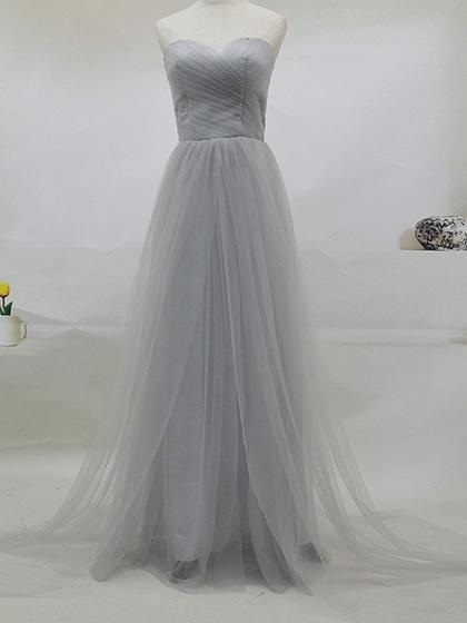 Buy Gray Multi-way Lace Up Back Tulle Maxi Prom Dress at wholesale prices