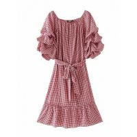 Quality Red Gingham Bardot Neck Ruffle Sleeve Tie Waist Midi Dress for sale