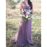 Quality Light Purple Multi-way Lace Up Back Tulle Maxi Prom Dress for sale