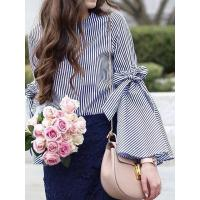 Quality Blue Stripe Bow Tie Split Bell Sleeve Top for sale