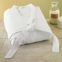 Quality White color Waffle Bathrobe with shawl collar for sale
