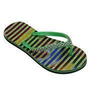 China Glitter Embellished Women's Flat EVA Flip-flops with Beads and Artificial Stone on sale
