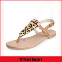 Quality 2015 ladies sexy summer leather shoes flat leopard sandals for sale