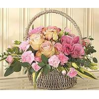 Flowers Flower Basket with Pink Roses