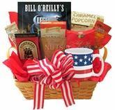 Quality All American Gift Basket with Book and Snacks for sale