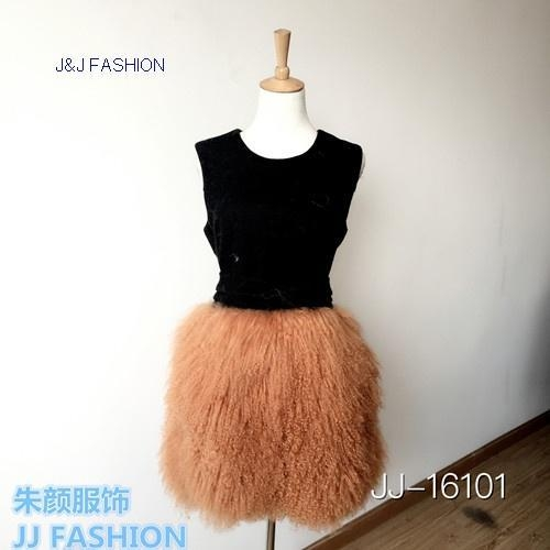 Buy JJ-16101 LADY'S DRESS IN DOUBLE FACE WOOL FABRIC AND TIBET FUR AW15FURCOLLECTION at wholesale prices