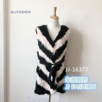 Quality JJ-16377 V-neck design Women Winter Stripe Long section vest AW15FURCOLLECTION for sale