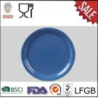 Quality Round Shape Melamine Blue Color Dinner Plate Solid Color Melamine Plate for sale