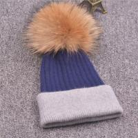 Quality Women's Blue And Grey Winter Warm Knit Wool Hat With Brown Pompom.Beanie Ball Wool Ski Baggy Hat for sale
