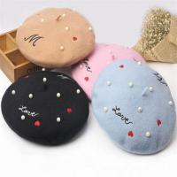China Embroidery with White Beads Winter Warm Wool Beret Hats for Women on sale