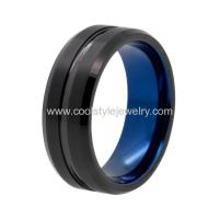 China 8mm men's top selling tungsten carbide wedding band black & blue plated on sale