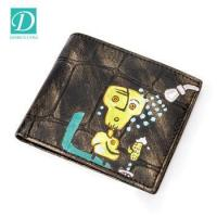 Buy cheap Low MOQ fashion vintage cowhide leather men's wallet custom printing bifold short wallet from wholesalers