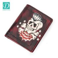 Buy cheap Top grain leather mens purse luxury skull pattern men coin purse custom leather wallet from wholesalers