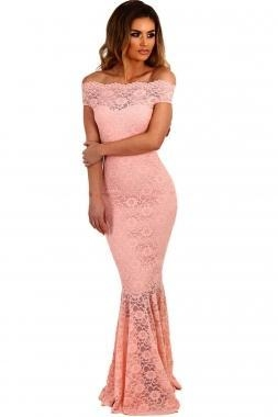 Buy Best Sellers Pink Bardot Lace Fishtail Maxi Dress at wholesale prices