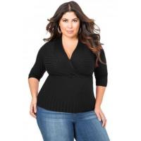 China New Arrivals Black Deep V Fitted Rubbed Knit Plus Size Top on sale