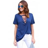 Quality New Arrivals Navy Blue Short Sleeves Lace up Slub Cotton Tee for sale