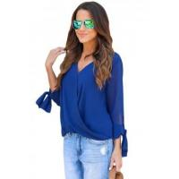 Buy cheap New Arrivals Blue Womens V Neck Ruched Tie Sleeve Top from wholesalers