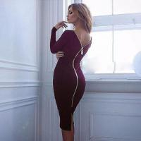 Buy cheap Bodycon Sheath Little Black Long Sleeve Party Dresses Full Zipper from wholesalers