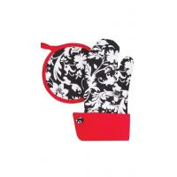Buy cheap Pot Holder / Oven Mitt Set  White and Black Floral with Red Trim from wholesalers