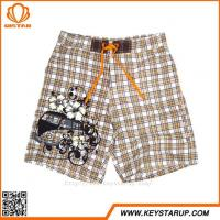 China Khaki Checkered Comfy Swimwear Board Shorts With Liner Mens Bulk Cheap Beachwear on sale