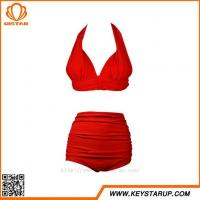 China Bikini Company Women Sexy Mature Two Piece Bathing Suit High Waist Red Swimwear on sale