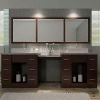 Buy cheap 97 Inch Large Custom Walnut Double Bathroom Vessel Sink Vanity Set from wholesalers
