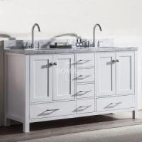 Buy cheap 60 inch modern Off White Double Sink master Bathroom Vanity with Marble Top from wholesalers