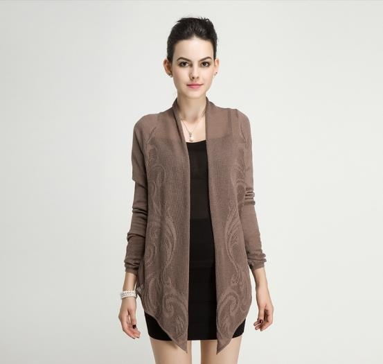 Buy Spring Autumn Ladies Merino Wool Jacquard Stitch Knitted Long Sleeve Cardigan at wholesale prices